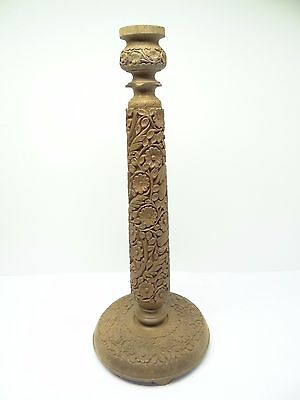 Vintage Used Carved Decorative Brown Wood Bird Flower Light Lamp Base Stand Part