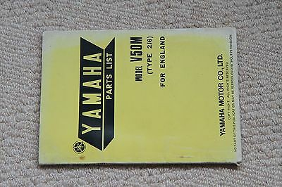 Yamaha V50M Genuine Factory Parts List 1977