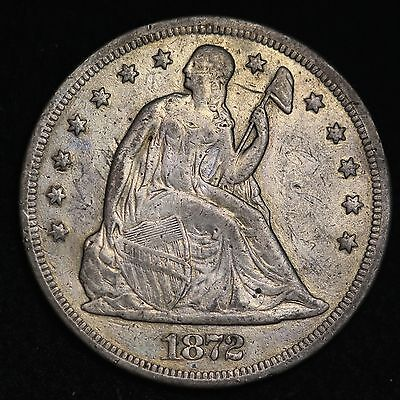 1872 Seated Liberty Dollar CHOICE VF FREE SHIPPING E246 CLM