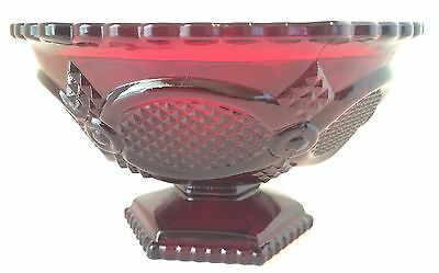 Ruby Red Footed Candy Bowl, Avon 1876 Cape Cod Pattern