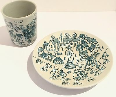Nymolle Art Faience Hoyrup Small Plate and Cup Made in Denmark #4006