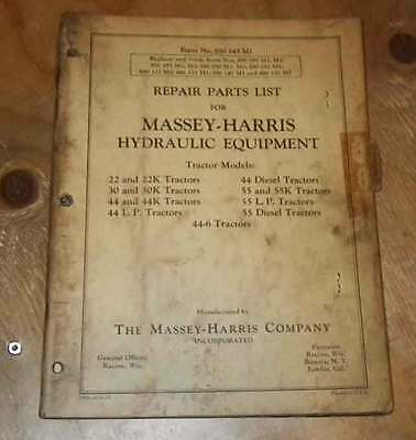 Massey Harris Hydraulic Equimpent Parts  manual. Tractors, 22 to 55