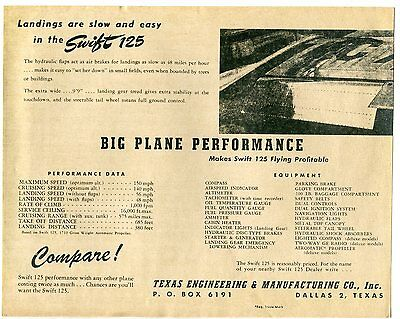 4 Promotional Sheets for Swift 125 - Texas Engineering & Manufacturing Co c.1947