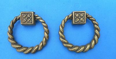 Pair Vintage Brass Furniture Cabinet Door Drawer Drop Ring Pull Handle Classic