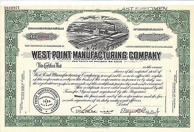 "West Point Manufacturing Company........""specimen"" Stock Certificate"