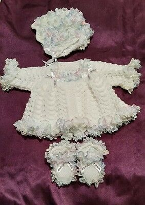 Romany Blinged Baby Girl Matinee Set -white rainbow lace /diamanté  0-3 months