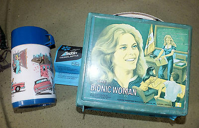 Vintage Plastic BIONIC WOMAN Lunch Box & Thermos Aladdin Canadian Flag Rare