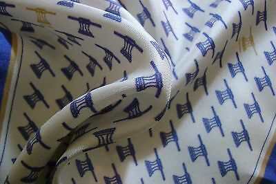 """Hand made Macclesfield 100% silk pocket square 12"""" soft white navy gold"""