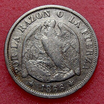 Chile, 20 Centavos 1866, Km# 135, Nice Silver Coin, Lot 36