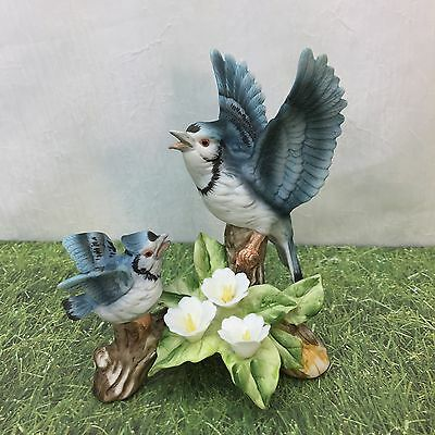 Blue Jay Birds Branch White Flowers Figurine Hand Painted Bluejays Vintage