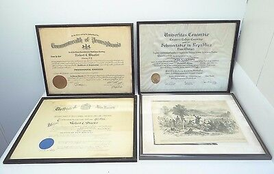 Vintage Lot UPenn Unversity of Pennsylania Engineering Degree Diploma Frames