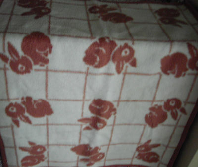 Vintage Baby Blanket with Bunny Rabbits Reversible Dusky Pink
