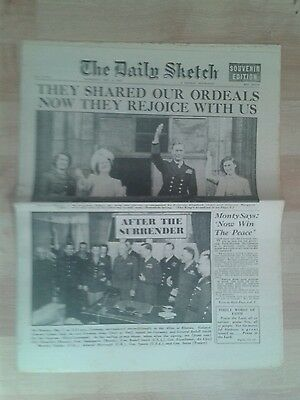 Daily Sketch NEWSPAPER-WW2-May 9th 1945- After the Surrender signed at Rheims.