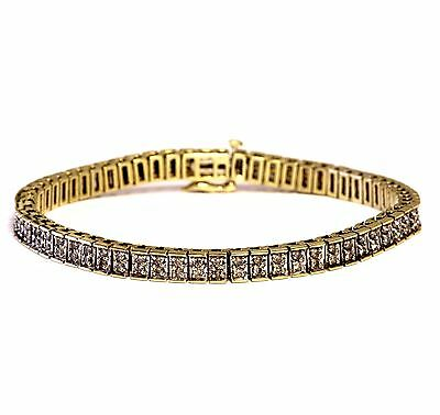 "10k yellow gold 1.24ct diamond tennis bracelet 15.1g 7.25"" estate vintage womens"