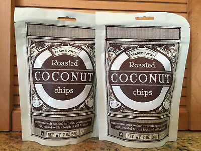Trader Joe's Roasted Coconut Chips! 2 bags. Delicious healthy snack! Ships fast!