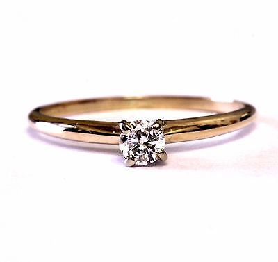 14k yellow gold .13ct SI1 H round solitaire diamond engagement ring 1g estate