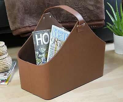 Contemporary Brown Faux Leather Magazine Rack Newspaper Holder Storage Basket