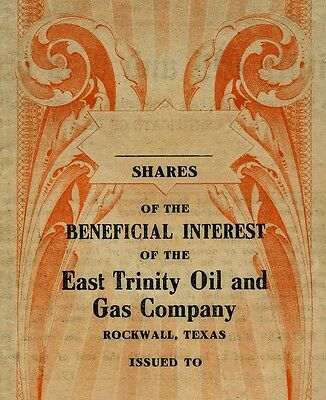 1919 Stock Certificate EAST TRINITY OIL GAS Co Rockwall Texas ANDERSON Sam Smith