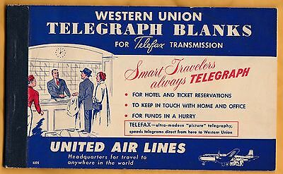 1950s Western Union Telegraph Blanks for Telefax Transmission United Airlines ad