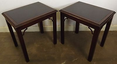 Pair Of Antique Style Slate-Topped Mahogany Side Tables In The Oriental Style