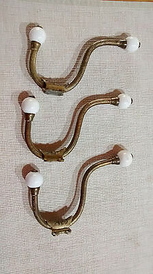 Victorian solid brass and porcelain coat hooks