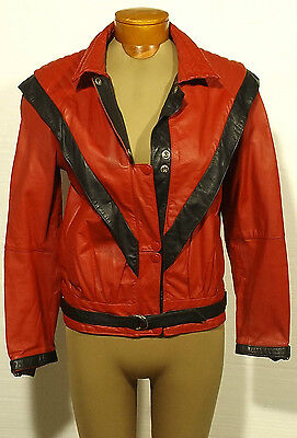 vintage 1980's women's MICHAEL JACKSON THRILLER style leather jacket size 5/6