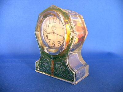 Vintage Glass & Tin Toy Octagon Clock Candy Container Circa 1918