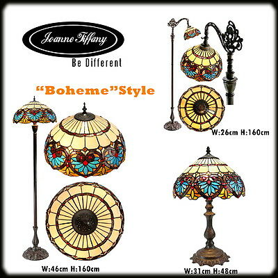 BOHEME TIFFANY STYLE REAL STAINED GLASS HANDCRAFTED LAMP(Available table/floor)