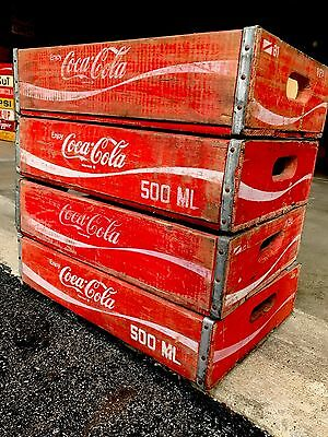 4 Vintage Coke Coca Cola Wood Soda Pop Crates