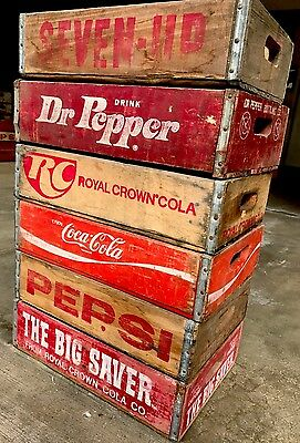 6 Vintage Wood Soda Pop Crates Pepsi Coke RC & 7up Dr Pepper Lot