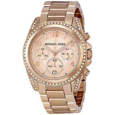 NEW Authentic Michael Kors Blair Rose Gold-Tone Chronograph Ladies Watch MK5263
