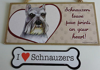 SCHNAUZER WALL PLAQUE and MAGNET - EUC - WONDERFUL COLLECTIBLES - FREE SHIPPING
