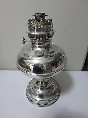 Vintage Rayo Nickel Plated 12 1/2 Inch Tall Lamp - Burner Dated 1905