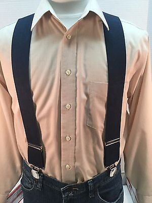 """New, Men's, Navy Blue, XL, 2"""", Twin Pin Clip, Suspenders, Made in the USA"""