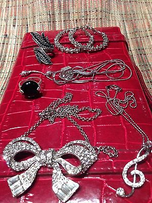 Assorted Vintage Jewellery Lot -  All Sparkles!  In Red Leather Jewellery Box