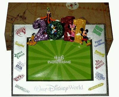 Disney World Parks 2011 Character Picture Frame Glitter Mickey Minnie New