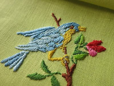PRETTY BIRDS on CHARTREUSE LINEN 8 Vintage Cocktail Napkins Hand Embroidered