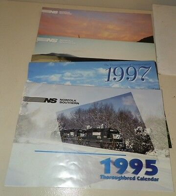 Five Norfolk Southern Railroad Promotional Calendars- 95, 97, 00, 01, 02