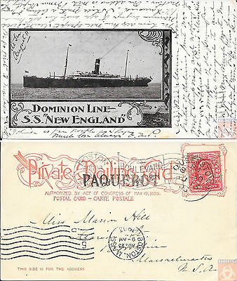 Angleterre - PAQUEBOT - NEW ENGLAND - At  Sea 1903 - Queenstown - Dominion Line