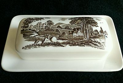 Romantic England, J & G Meakin Oblong Butter Dish Brown & White, NEW