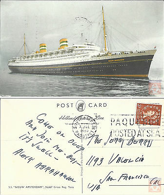 Angleterre - PAQUEBOT - NIEUW AMSTERDAM - Posted at Sea 1957 - Southampton