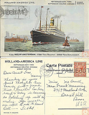 Angleterre - PAQUEBOT - NIEUW AMSTERDAM - Posted at Sea 1927 - Plymouth