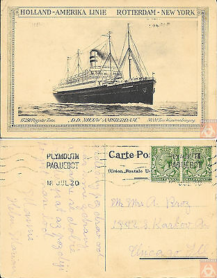 Angleterre - PAQUEBOT - NIEUW AMSTERDAM - Posted at Sea 1920 - Plymouth