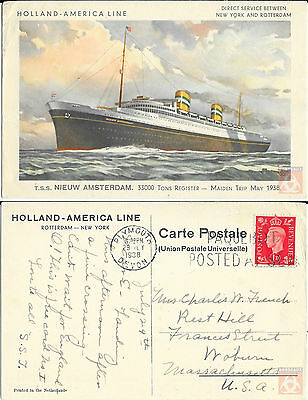 Angleterre - PAQUEBOT - NIEUW AMSTERDAM - Posted at Sea 1938 - Plymouth