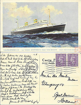 Angleterre - PAQUEBOT - NIEUW AMSTERDAM - Posted at Sea 1948 - Southampton