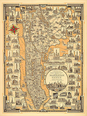 1939 Pictorial Map Manhattan Bronx New York Poster Print Vintage History