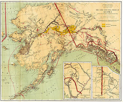 1891 Map The Gold and Coal Fields of Alaska -Gold Rush- Wall Art Poster History