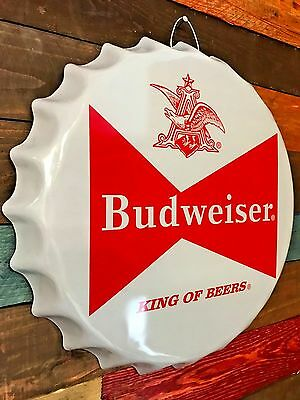 Budweiser Beer Bow Tie Retro Logo Metal Sign, Wall Decor Game Room Man Cave Bar