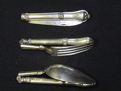 rare 3pcs napoleonic officer french solid silver travelling campaign set