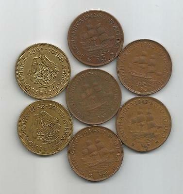 South Africa - 1/2 Penny - 1942(3) 1944 1952 1961 1963 - 7 Coins - lot